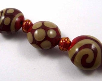 Free Shipping for this Set of Handmade Red and Khaki Lentil Glass Beads