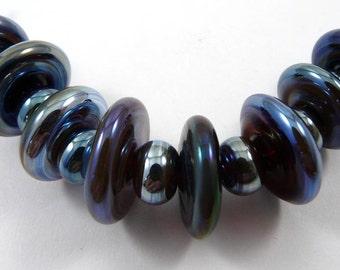 Set of Eight Ekho Disk and Nine Micro Ekho Handmade Glass Beads