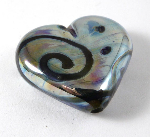 Free Shipping for this Gorgeous Handmade Aurae Glass Heart Focal Bead with Black Swirls