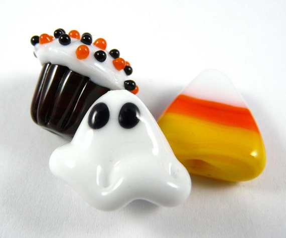 Happy Halloween Handmade Glass Bead Set with a Cupcake and a Ghost and a Candy Corn