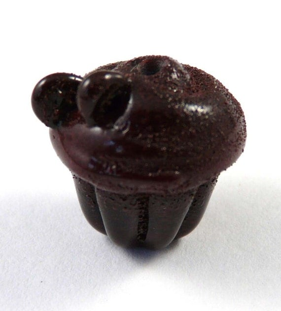 A Different Super Death by Chocolate Handmade Glass Cupcake Bead