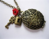 Brass Locket . Filigree . Red Flower . Charm . Key and Locket