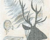 Tweed Deer - 4x6 - Collage Art Print