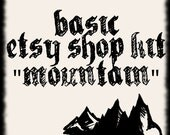 Premade Etsy Shop Set with Banner and Avatar Mountain Map Design