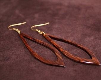 Golden Chechen Burl Teardrop Earrings
