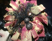 Tattered and Torn brooch burlesque vintage style