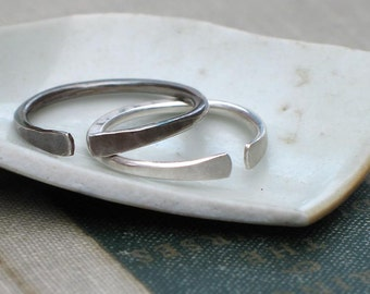 Forged Open Silver Band- minimalist ring, adjustable