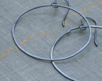Large Oxidized Hoop Earrings