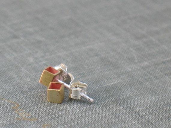 Tiny Brass Stud Cube Earrings
