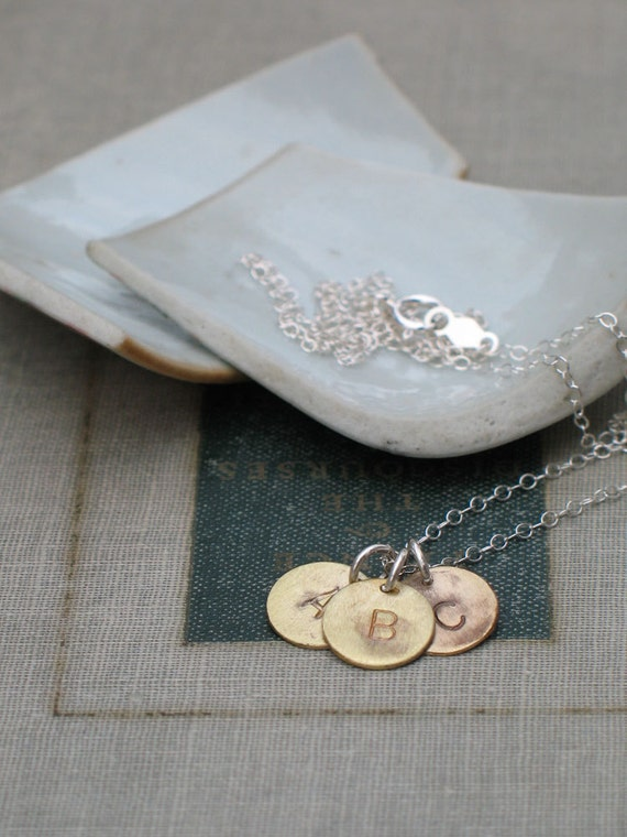customized brass three initial necklace