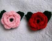 Pink Crochet Flower Green Leaves Demelza House Fundraiser