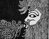 Aeolus (original woodblock print)