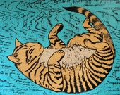 Woodblock Print Murphy the Cat  pet portrait orange tabby cat
