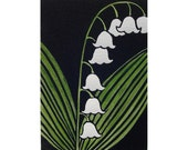 Lily of the Valley ACEO Artist Trading Card Linocut Print flower may day spring