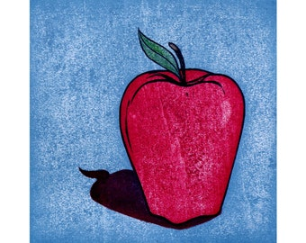 Woodblock Print Apple Red Delicious