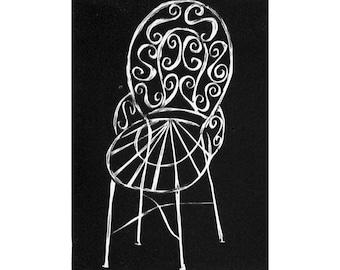 Bistro chair (original linocut) kitchen art