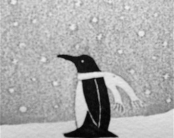 Penguin Woodblock print