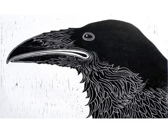 Raven Woodblock Print wall art