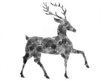 Deer print of my original ink painting, animal painting, ink bubble