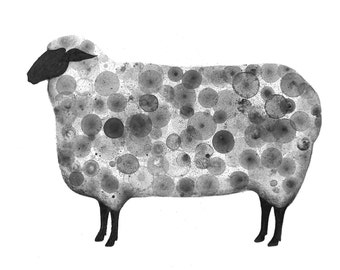 Sheep print of my original ink painting, animal painting, ink bubble