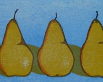 Three Pears Original Woodblock Print