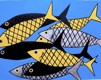 Fishes Original Woodblock Print  pisces
