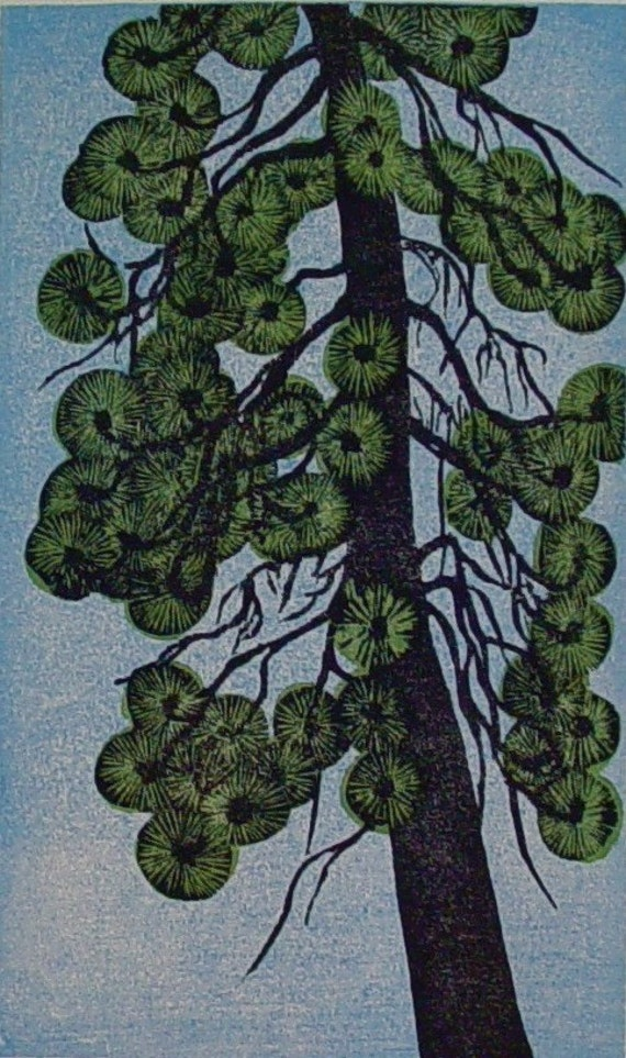 Woodblock Print Poderosa Pine Wall Art