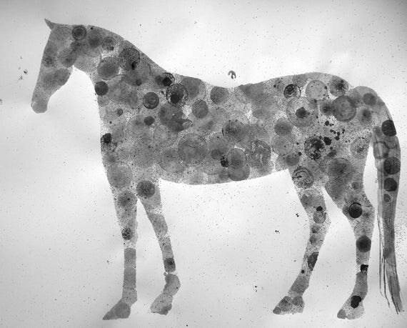 Dappled Grey 18X24 original ink painting, horse, animal painting