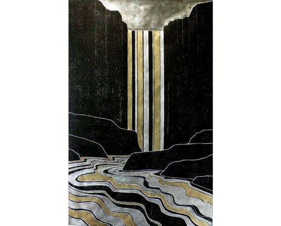 Gold and Silver Falls 17X26 inches (woodblock print)