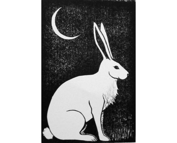 Original Linocut Print Hare and Moon