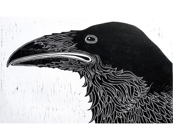 Raven Woodblock Print wall art