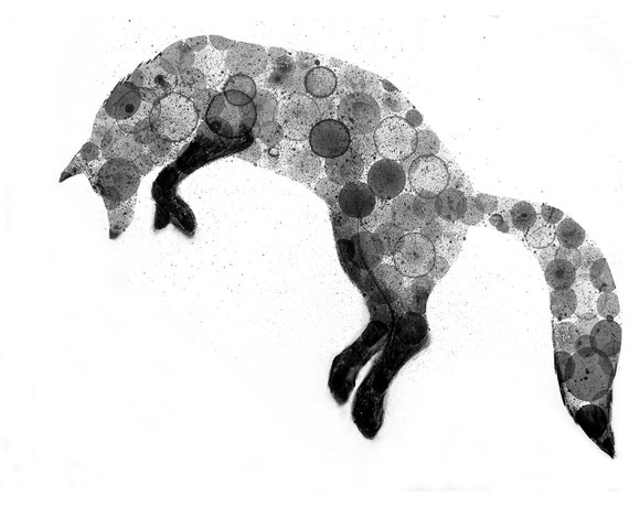 Fox Drawing Illustration Print 8X10 (ink bubble drawing reproduction print)
