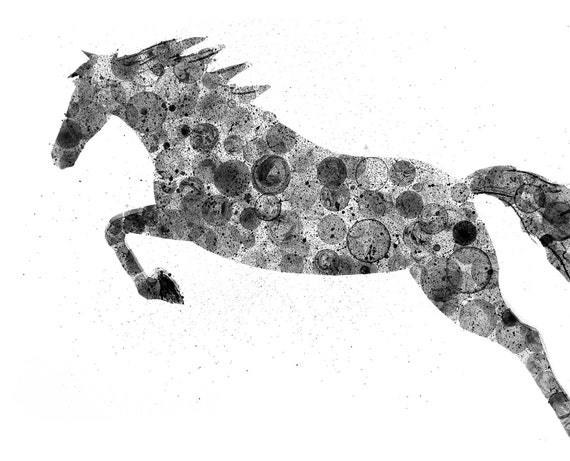 Horse 8X10 ink painting, animal painting, ink bubble print