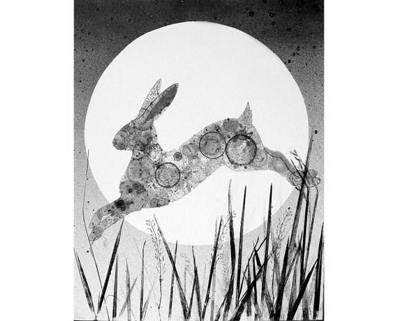 Hare and Moon original ink painting, animal painting, rabbit