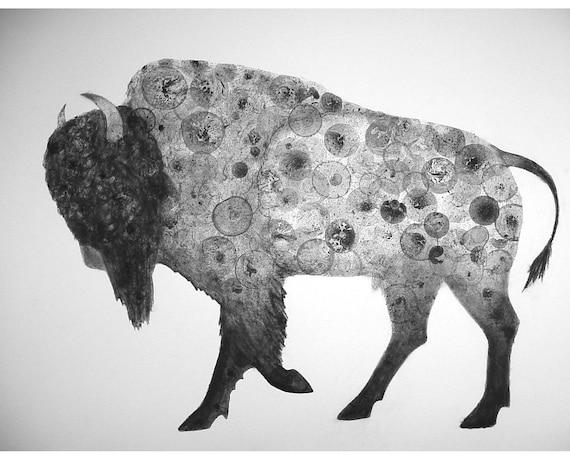 Bison 22X30 (Original Ink Bubble Drawing) buffalo art