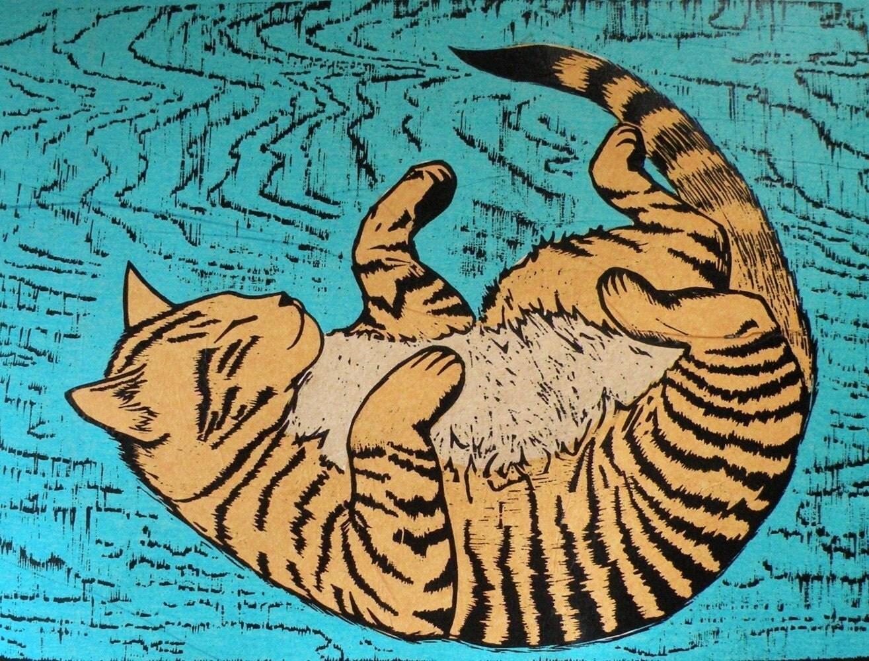 Woodblock Print Murphy The Cat Pet Portrait Orange Tabby Cat