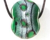 Lampwork Handmade Glass Focal Bead - Green Large Lentil