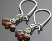 CLEARANCE Autumn Sapphires on Elongated Sterling Silver Kidney Ear Wires Earrings f09e020
