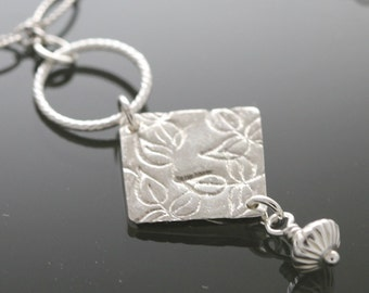 CLEARANCE Fine Silver Leafy Diamond-Shaped Pendant on a Sterling Necklace f11n001