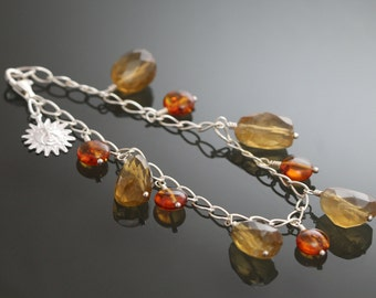 CLEARANCE Sunshine Gemstone Charm Bracelet - Whiskey Quartz, Amber, and Sterling Silver - s10b006