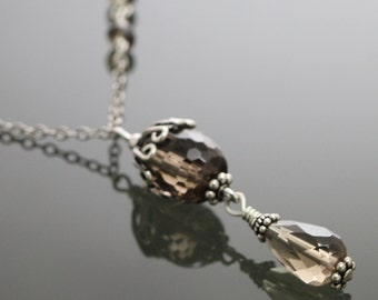 CLEARANCE Smoky Quartz Asymmetric Sterling Silver Necklace f09n015