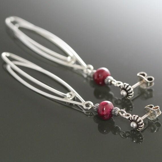 Genuine Ruby Sterling Silver Post Earrings with Long Swinging Loops ec153