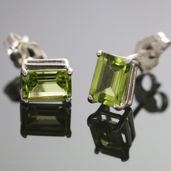 Peridot 5x7mm Emerald Cut Sterling Stud Earrings f09e024