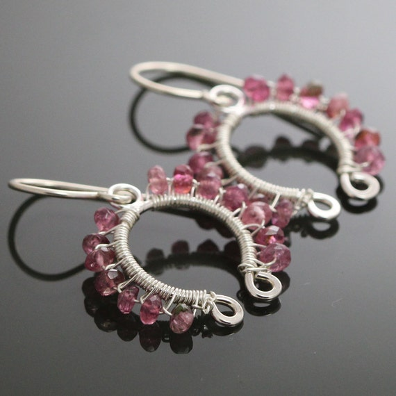 Pink Tourmaline Sterling Silver Wire Wrapped Earrings s10e010