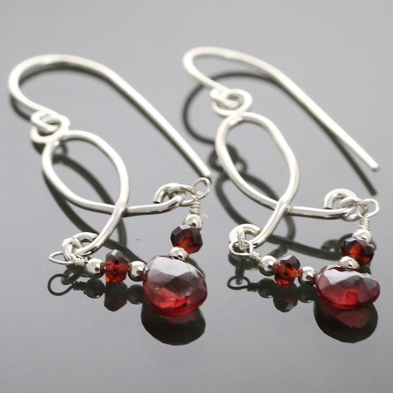 CLEARANCE Lightweight Garnet Sterling Silver Chandelier Earrings f09e008
