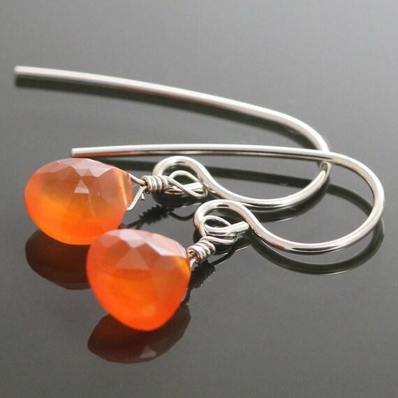 Bright Orange Carnelian Sterling Silver Earrings s09e015