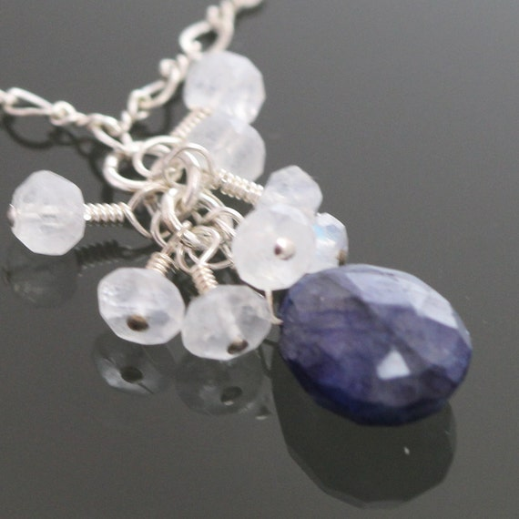 CLEARANCE Blue Labradorite and Moonstone Cluster on a Sterling Silver Chain s09n014