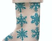 snowflake stocking on recycled felt
