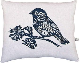 block print chickadee accent pillow