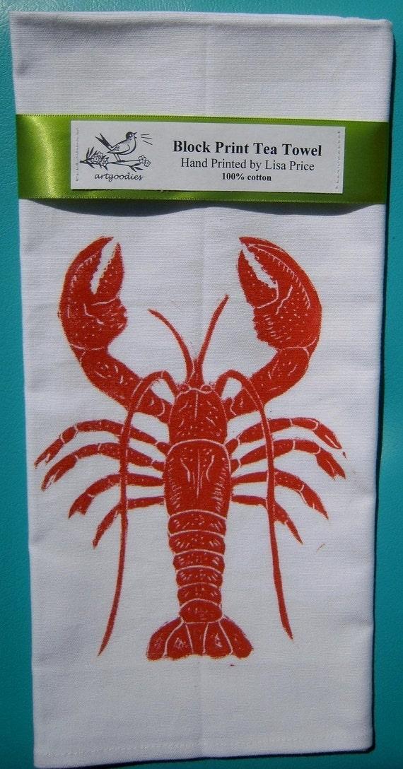 SALE lobster block print tea towel